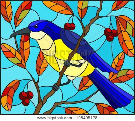 Illustration in the style of stained glass with a beautiful lue bird on a background of autumn branch of tree and sky
