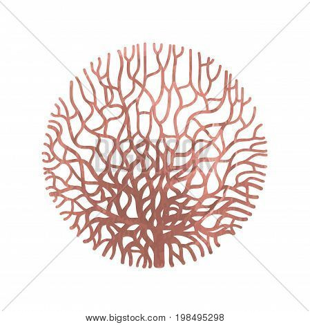 Graphic coral circle painted with rose gold acrylic texture. Tattoo art or t-shirt design isolated on white background