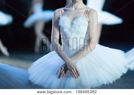 anatomy, beauty, dancing concept. tender arms of ballerina crisscrossed like wings of swan, her posture is perfectly straight and white neck is uptight so collarbones are stick out so much