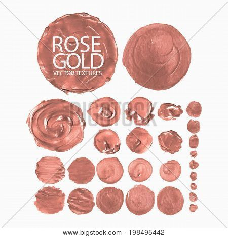 Collection of acrylic circle textures in rose gold colors. Vector design elements isolated on white background
