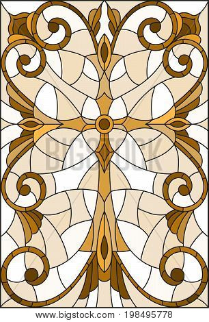 Stained glass illustration with a cross in the sky and flowersbrown tone Sepia