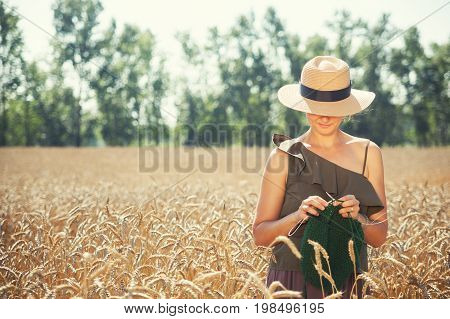 Young  Woman Knitting On The Wheat Field