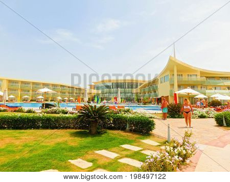 Sharm El Sheikh, Egypt - April 12 2017: The view of luxury hotel Barcelo Tiran Sharm 5 stars at day with blue sky at Sharm El Sheikh, Egypt on April 12, 2017