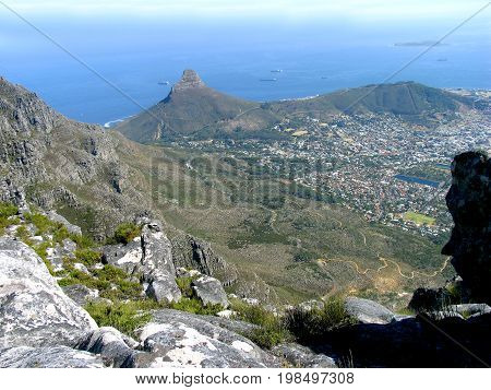 Table Mountain view from the top overlooking Lion's Head and Signal Hill