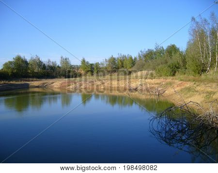 Water and trees of central europe nature view photo