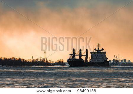 Black Cargo Ship