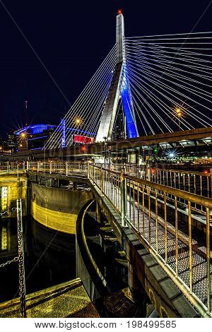 Zakem bridge over Charles river dam at night