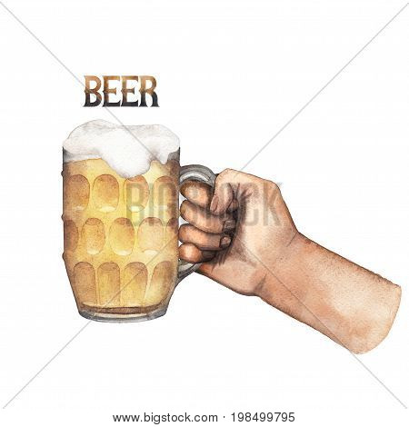 Watercolor hand holding pint of beer. Hand painted illustration isolated on white background
