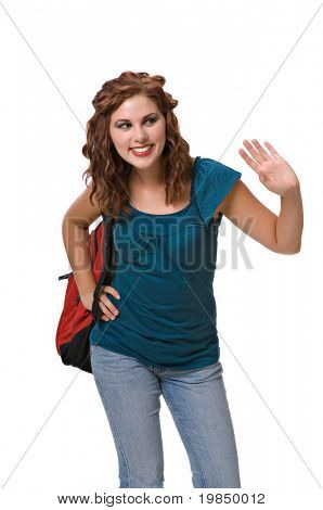 Pretty young woman wearing backpack, isolated against white background