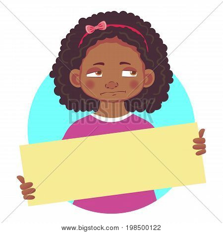 Unhappy resentful African or Afro-American girl holding blank poster. Blank message vector illustration. Hands holding blank paper