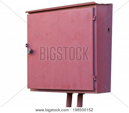 red metallic Electric box on a white background