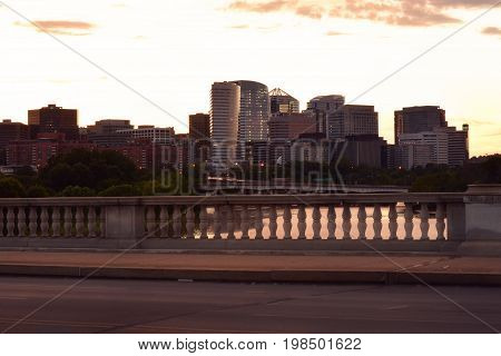 Panoramic view of Rosslyn skyline at dusk shot from the Arlington Memorial Bridge.
