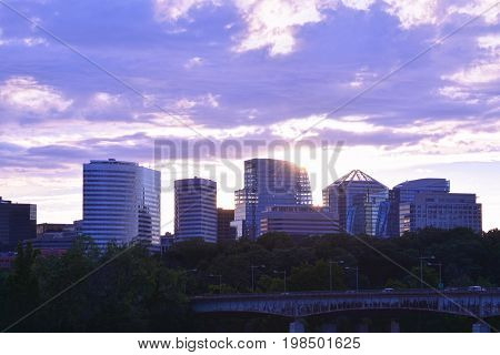 Panoramic view of Rosslyn, Virginia, skyline at dusk.