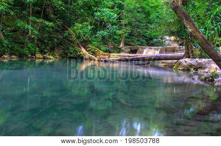 Erawan Waterfall in the forest. Kanchanaburi, Thailand