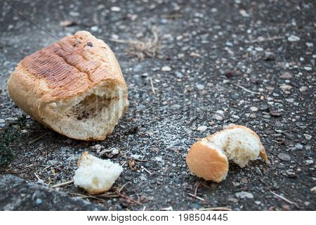 Thrown away bread on the city street
