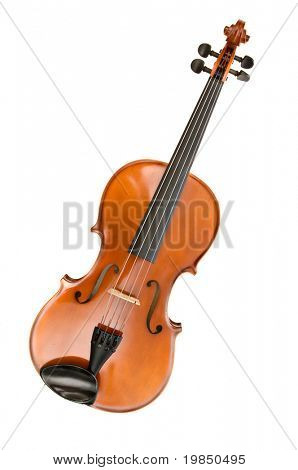 Viola or violin isolated against white background