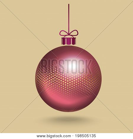 Realistic, 3d, pink Christmas, New Year, ball decorated with the pattern of small gold round halftone dots, hanging on a ribbon with a small bow. Vector illustration. New Year postcard with place for text