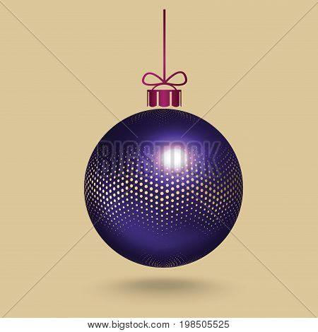 Realistic, 3d, blue Christmas, New Year, ball decorated with the pattern of small gold round halftone dots, hanging on a ribbon with a small bow. Vector illustration. New Year postcard with place for text