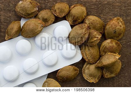 Natural substances used in pill and drug production, apricot seeds in pharmaceutical raw materials,