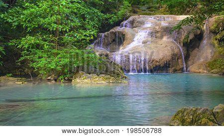 Erawan beautiful central rainforests. Forum National park  Kanchanaburi, Thailand