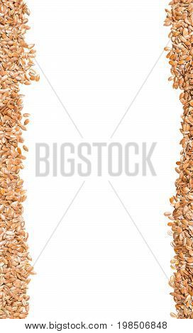 Raw unprocessed linseed or flax seed background border