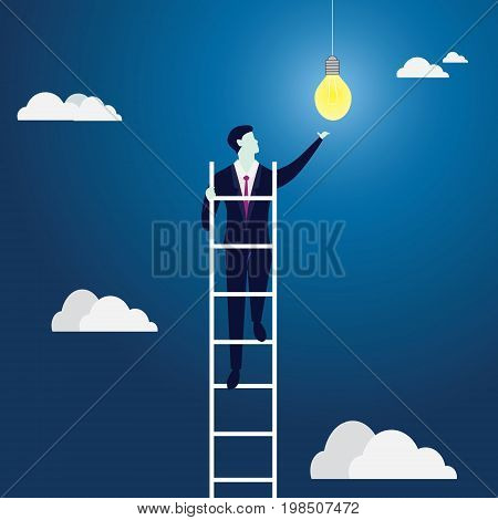 Business Idea Concept. Climbing Ladder Reaching Idea Bulb