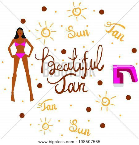 Vector illustration with tan spray machine woman in bikini and hand lettering calligraphy text on white background