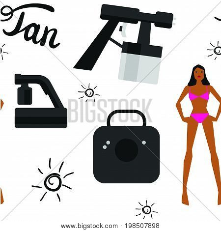 Vector seamless pattern with tan spray machine woman in bikini and hand lettering calligraphy text