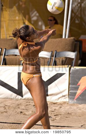 GLENDALE, AZ - SEPTEMBER 27: Olympian Jenny Johnson Jordan competes at the AVP Best of the Beach volleyball tournament in Glendale, Arizona.