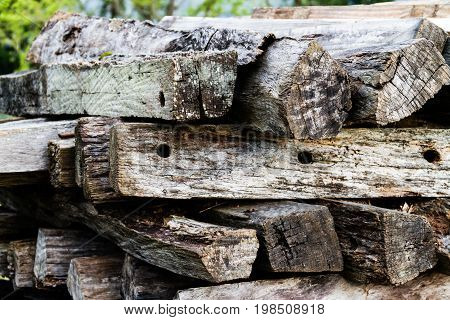 Stack of old wood in close-up view