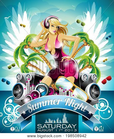 Vector Summer Beach Party Flyer Design With Sexy Girl And Speakers On On Tropical  Background. Eps10