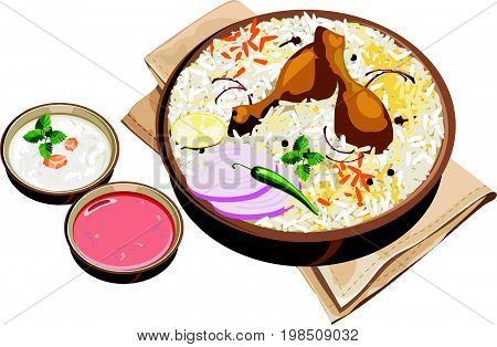 Vector Illustration of authentic indian/Hyderabadi chicken biryani