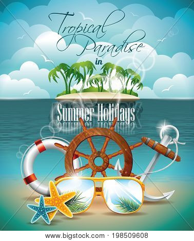Vector Summer Holiday Flyer Design With Palm Trees And Shipping Elements On Tropical Background. Eps