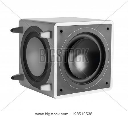White high gloss subwoofer on white background isolated