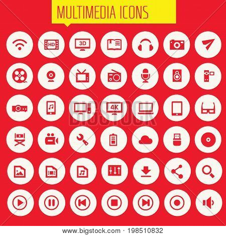 Trendy flat design big Multimedia icons set