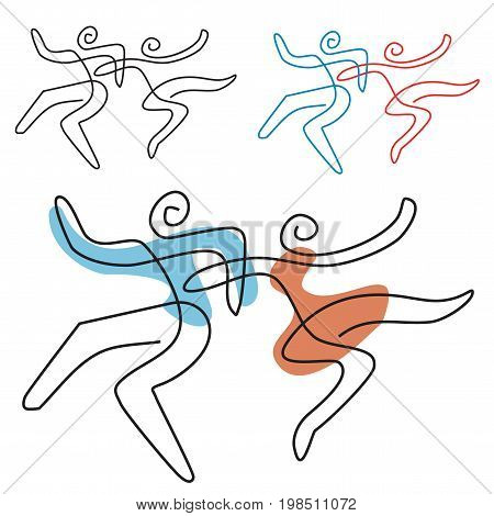 A temperamental dance couple, line art stylized. Vector available.