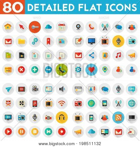 Trendy flat detailed multimedia, information, web and social colored icons on colored circles