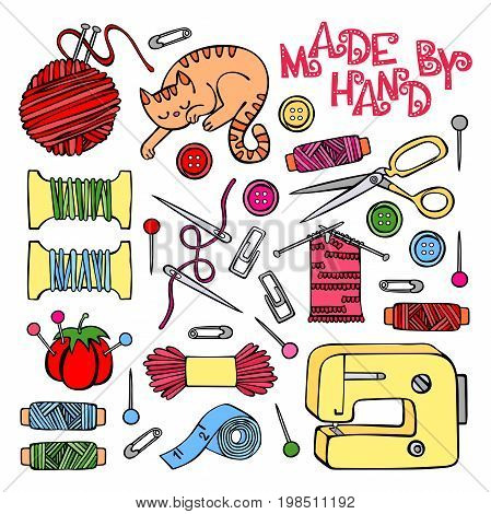 Sewing, sewing machine, thread, needle, button. Cozy cat. Hand-drawn illustration. Isolated vector set.