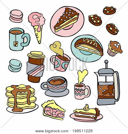 Coffee pot and coffee cup. Tea. Baking and sweets. Set. Isolated vector objects on white background.