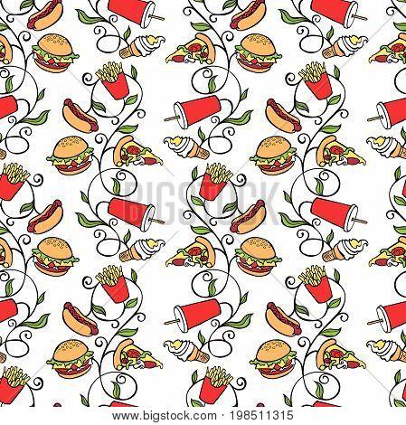 Fast food: hamburger, hot dog, milkshake, French fries and pizza slice. Seamless vector pattern (background).