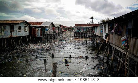 Slums at Hanuabada village at the outskirts of Port Moresby in Papua new Guinea