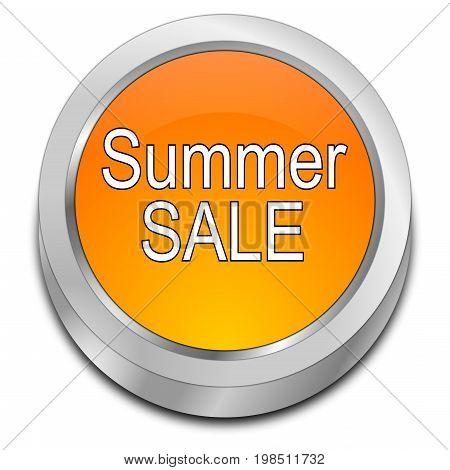 orange Summer Sale Button - 3D illustration