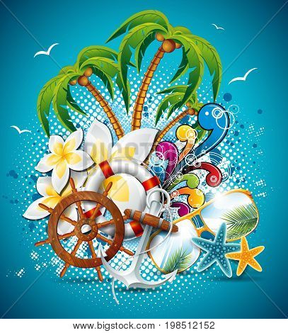 Vector Summer Holiday Flyer Design With Palm Trees And Shipping Elements. Eps10 Illustration.