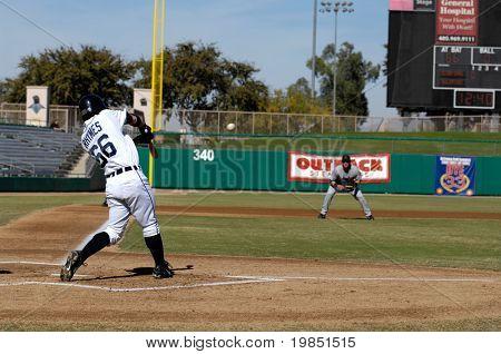 MESA, AZ - NOV 20: Will Rhymes of the Mesa Solar Sox hits in the Arizona Fall League baseball game between the Mesa Solar Sox and the Scottsdale Scorpions on November 20, 2008 in Mesa, Arizona.
