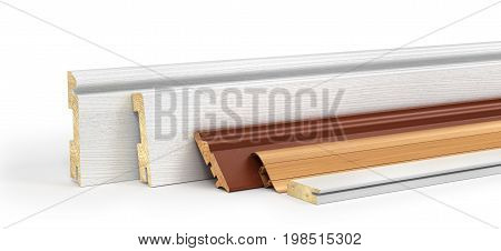 Set of skirting different form on a white background. 3d illustration