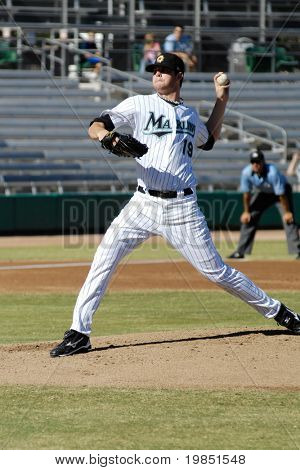 MESA, AZ - NOV 20: Sean West of the Mesa Solar Sox pitches in the Arizona Fall League baseball game with the Scottsdale Scorpions on November 20, 2008 in Mesa, Arizona.
