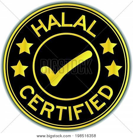Black and bold color HALAL certified with mark sticker on white background
