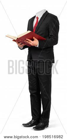 A hollow suit holds an open book in the hands isolated on a white background