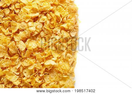 Tasty cornflakes on white background