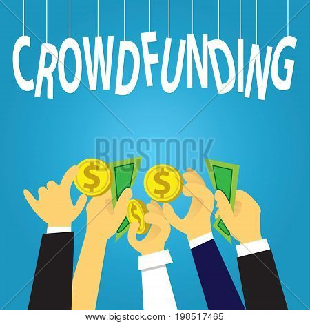 Vector illustration. Business crowdfunding concept. Businessmen hands giving dollar coins money to fund their business start up. Symbol of process investment strategy goals team work future profit